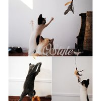 Wholesale New Feather Feather Toys Mascotas Gato Juguetes Gatos Pet Teaser Rod Toy Real Feathers Of Guinea Fowl K4195