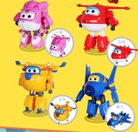 Wholesale 4pcs robot Transform festival gifts deformation helicopter fire truck police action figure super wings doll boys girls toy