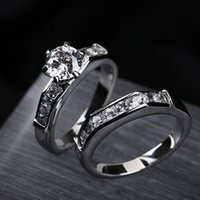 Wholesale Classic rhinestone fashion cubic zirconia stainless steel wedding couples rings diamond rings for woman and man