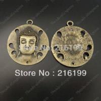 antique bronze paint - Whosesale Antique style bronze jewellry round paint a Buddha charm pendant charm pendants pendant charm
