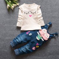 baby girl frog - New style Baby girl infant toddler outfits pc sets Frog Cowboy long Shirts and Bib Thouser sets Spring E524