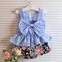 Cheap 2015 Summer Childrens Clothing Kids Korean Style Fashion Set Cute Bow Tank Top And Floral Shorts 2 Pieces Set Kids Clothes