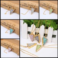 Wholesale 2015 New Arrival Crystal Gold Plate Natural Stone Geode Necklace Natural Crystal Triangle Pendant Necklace Charm Infinite Necklace Jewelry