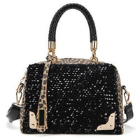 Wholesale New Arrivals Fashion Women Lady Glitter Shining Sequin Black Leopard PU Leather Totes Shoulder Bag Handbag a13