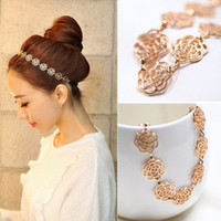 Wholesale Girls Womens Fashion Metal Chain Jewelry Hollow Rose Flower Elastic Hair Band Headband order lt no tracking