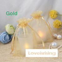 Cheap Free Shipping--100pcs Gold 10*15cm Sheer Organza Bag Wedding Favor Supplies Gift Candy Bag