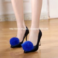 name brand evening dress - Brand classic hairball F famous name women ladies low heel heeled sexy party evening club footwear pump shoes free drop shipping FA1830