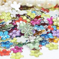 Cheap Free shipping 1600pcs bag 10mm Mixed Color flower design acrylic rhinestone flat Back Nail Art Rhinestones for DIY