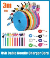 Wholesale Micro USB Data Sync Charger Cable M FT Charging Cord Noodle Work With Samsung Galaxy S3 S4 S5 Note II all phones CAB004