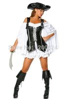 adult pirate hat - Pirate Costume women adult party halloween costumes black Faux Leather Sexy Pirates cosplay Costume with hat