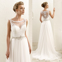Cheap Bohemian White Boho Plus Size Wedding Dresses Lace Rhinestone 2015 Elegant A Line Bridal Gowns Sleeveless Vestidos W3619
