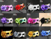 Wholesale 2015 Women Sexy Hallowmas Venetian mask masquerade masks with flower feather mask dance party mask for