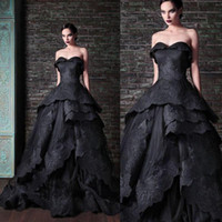Wholesale Crystal Neck Tie - New Gothic Black Wedding Dresses Vintage Sweetheart Ruffles Lace Tulle Ball Gown Sweep Train Tie up Back Bridal Gowns Custom lace wedding