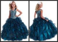 Cheap Charming Ball Gown Girls Formal Pageant Dresses Organza Full Length 2015 Beading Party Dress For Little Kids Girl ML Spaghetti Zipper Back