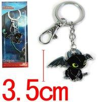 Wholesale 10pcs How To Train Your Dragon Black Dragon Toothless Night Fury Pendant Key Ring Keychains J2723