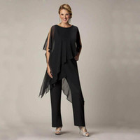 Cheap 3 Pieces Casual Summer Wear for Women 2016 Black Mother Of The Bride Pant Suits Ladies Chiffon Wedding Party Evening Suit Set d113