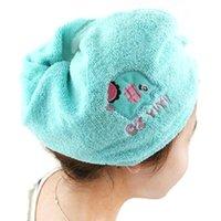 Wholesale Women Dry Hair Hat Cartoon Cotton Magic Drying Towel Quick Dry Bath Hair Drier cap Head Wrap Abosrbent