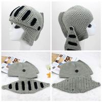 acrylic crochet hooks - Newest Roman Knight Helmet hat for women men cotton acrylic Skull Knit Crochet Gladiator Mask Windproof Snowboard Beanies hat