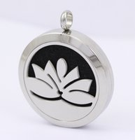 american lotus plant - Hot Selling New Necklace Lockets Lotus Face Diffuser Round Stainless Steel Essential Oil Aromatherapy Perfume Lockets