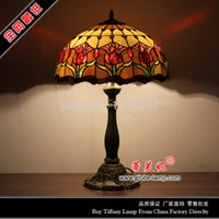 Wholesale 16 inch tiffany table lamp with stained glass hancarfts S03016T02 W40CM H58CM tiffany desk lamp for foyer bedroom