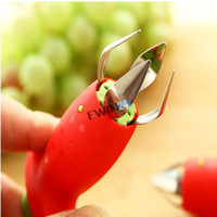 Wholesale New and high quality Strawberry Tomatoes Stem Leaves Huller Remover Removal Fruit Corer Kitchen Gadgets