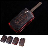 Wholesale Car Remote Key Case Cover Genuine Leather For Peugeot Hand Sewing EMS DHL Factory