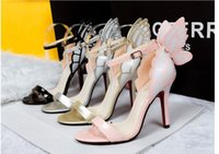 pink ladies shoes - New Fashion Women D Butterfly High Heel Shoes Woman Sexy Sandals Summer Black Pink Gold Silver Patched Color Lady Shoes B3666