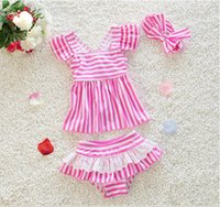 band bathing suits - Lovely Kids swimwear pieces dark blue and pink stripes swimming suits with free hair band bathing suits size XS L south Korean style