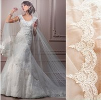 Cheap High Quality New Free Shipping White Ivory 1T Wedding Bridal Veils Car Bone Lace Edge 3m Long Veil without Comb