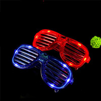 Wholesale 100pcs LED Light Glasses Flashing Shutters Shape Glasses LED Flash Glasses Sunglasses Dances Party Supplies Festival Decoration