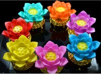 Wholesale 7 with Power Supply Can Change Battery Work Buddha s Light Flower Fancy Colorful Changing LED Lotus Flower Romantic Wedding Decorat