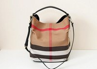 Wholesale 2014 new British style classic canvas check bag bucket bag hobo bag women shoulder bag
