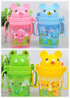 Wholesale Baby Kids Straw Cup Drinking Bottle Sippy Cups With handles and belt girl boy baby children Cute Design drinkware