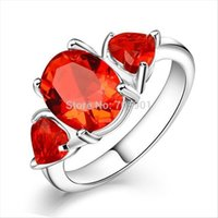Wholesale Hot Selling Fashion High Quality Silver Rings For Women Lady Filled Red Topaz Gems Silver Plated Ring