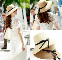 Wholesale New summer Fashion Women Wide Brim Beach Sun Hat Straw Floppy Elegant Bohemia Cap colors