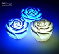 2015 nuevo regalo cambiable del color de la flor Vela Rose LED rosas sin llama sin humo encanta 50pcs lámpara