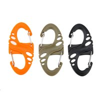 Wholesale New Mountaineering Buckle Set Hollow out S shaped Carabiner Plastic Carabiner Hook Clip Outdoor Camping Hiking