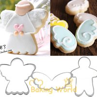 angle biscuits - Baby Angle Boy Wing Stainless Steel Cookie Cutter Fondant Cake Molds Metal Cupcake Topper Sandwich Biscuit Decoration Tool Mould