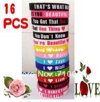 Wholesale Wholesales pc HOT NEW D I Love One Direction Super Star Silicone Wristband Bracelet Mixed Colors Bracelets Fashion
