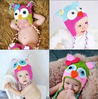 Unisex Spring / Autumn Crochet Hats Wholesale - Animal prints Hat Owl Best price - Handmade Knitted Crochet Baby Hat owl hat with ear flap Free shipping