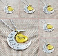 Pendant Necklaces Bohemian Unisex Fashion Luxury Retro Moon Heart I love you Pendant Necklace Father Mom Family letter box chain necklace jewelry Mother's Day gift
