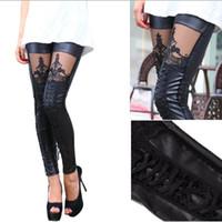 Wholesale Slim Girls Sexy Leggins - new trend leggings women leg sexy binding lace faux leather legging black girls leggins slim trousers leg ins pants