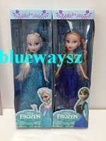 Wholesale Frozen Movie inch dolls quot Princess Queen Barbie Two braid Anna Elsa Doll Toys Hot in good cloth Christmas gift for kids DHL Free