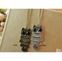 Wholesale 2015 New Design Lady Women Vintage Silver and Coppery Color Owl Pendant Necklace Gift For Christmas