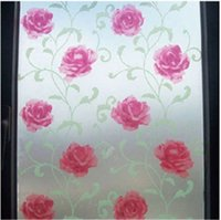 Wholesale 1509 Privacy glass window film Self adhesive Frosted Red rose Pattern cm cm