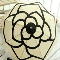 Wholesale fashion women umbrella automatic parasol anti UV sun umbrella white color flower umbrella three folding umbrella rain women cm unbrella