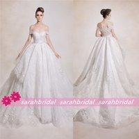 Wholesale 2015 Winter Dar Sara Lace A Line Ball Bridal Gowns For Arabic India Brides Sale Cheap Off Shoulder Princess Style Plus Size Wedding Dresses