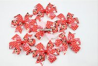 Cheap 3.1 inch New Minnie Mouse Hair Bow with Clips for Party Decoration Hair flowers Clips for Girl Hair Accessories 30 pcs lot Free Ship