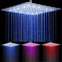 Wholesale High Quality Large Size quot Copper Made Square Color LED Series Rain Shower Head Bathroom Rainfall Shower Sprayer order lt no track