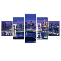 (Нет Frame) Город Ночь и Мост 5 Панели / Set Large HD Picture Печать холст Картина Картина Стена Декоративная картина маслом